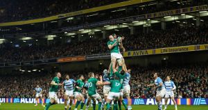 Ireland's Devin Toner claims a lineout during the  international against Argentina at the Aviva Stadium.  Photograph: James Crombie/Inpho