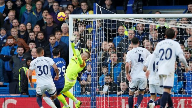 Jordan Pickford saves Marco Alonso's volley during Everton's 0-0 draw with Chelsea. Photograph: David Klein/Reuters