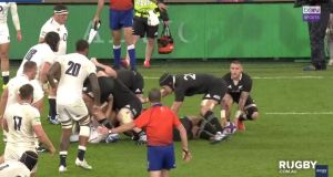 A   television official saw the boot of Courtney Lawes cross the invisible offside line a millisecond before TJ Perenara motioned to kick in the All Blacks' narrow victory over England