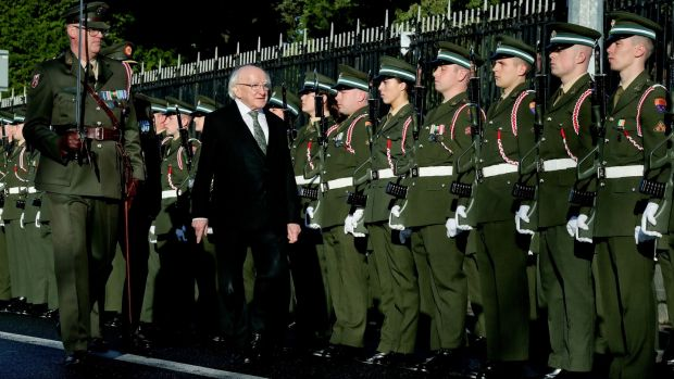 Michael D Higgins at a ceremony marking the centenary of Armistice Day at Glasnevin Cemetery in Dublin. Photograph: Maxwell's