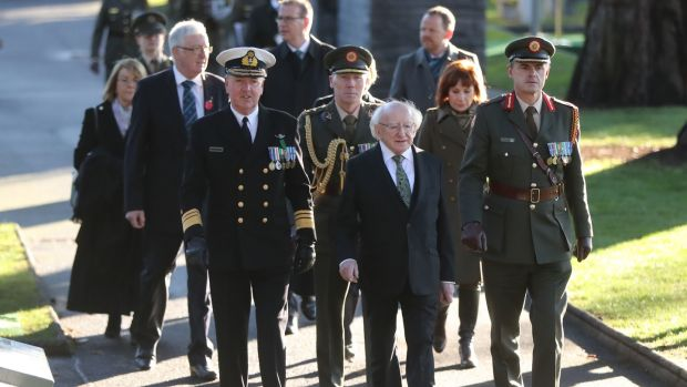 Vice-Admiral Mark Mellett with Michael D Higgins at a ceremony marking the centenary of Armistice Day at Glasnevin Cemetery in Dublin. Photograph: Niall Carson/PA Wire
