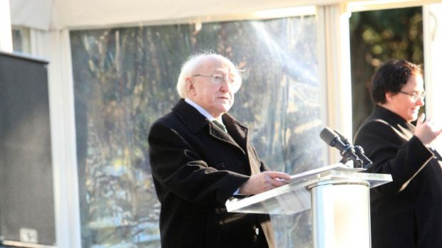 Michael D Higgins speaks at the Armistice Day centenary commemoration at Glasnevin Cemetery in Dublin. Photograph: Garrett White/Collins