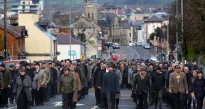 Silent procession: the event was organised by the Blue Raincoat Theatre Company to mark the loss of 607 Sligo lives during the first World War. Photograph: Brian Farrell