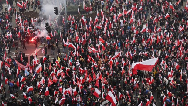A view of an independence march in Warsaw, Poland. Photograph: Sean Gallup/Getty Images