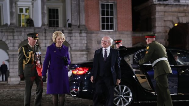 Michael D Higgins arrives at Dublin Castle for the inauguration ceremony. Photograph: Irish government pool/Maxwells
