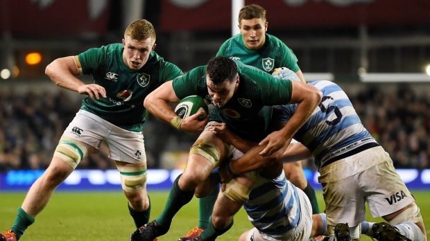 Ireland's James Ryan makes a trademark surge in possession against Argentina at the Aviva Stadium. Photograph: Clodagh Kilcoyne/Reuters