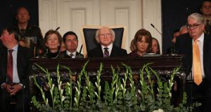 Michael D Higgins is seen during the service of prayer at the beginning of the presidential inauguration ceremony. Photograph:  Government pool/Maxwells