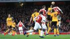 Arsenal's Henrikh Mkhitaryan ball into the box went straight in for Arsenal's  equaliser in the Premier League game against Wolves at the Emirates stadium. Photograph: Mike Egerton/PA Wire