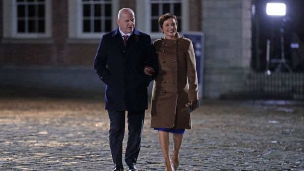 Defeated presidential candidate Seán Gallagher and his wife Trish arrive at Dublin Castle to attend the inauguration of Michael D Higgins. Photograph: Niall Carson/PA Wire