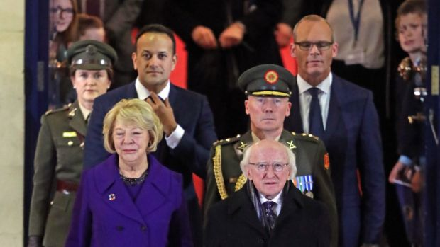 President Michael D Higgins, accompanied by his wife Sabina, Taoiseach Leo Varadkar and Tánaiste Simon Coveney and members of the Defence Forces at Dublin Castle after being inaugurated as president for a second term. Photograph: Niall Carson/PA Wire