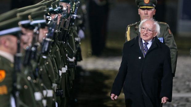 President Michael D Higgins inspects the Guard after his inauguration at Dublin Castle. Photograph: Colin Keegan/Collins
