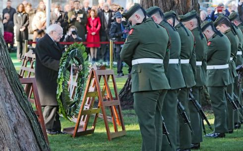 President Michael D Higgins lays a wreath during an Irish State ceremony at Glasnevin cemetery in Dublin, to mark the 100th anniversary of the signing of the Armistice which ended the first World War. Photograph: Niall Carson/PA Wire