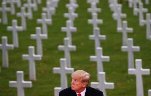 US president Donald Trump takes part in the commemoration ceremony for Armistice Day, 100 years after the end of the first World War, at the Suresnes American Cemetery and Memorial in Paris, France. Photograph: Carlos Barria/Reuters