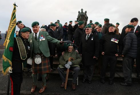 Military personnel and veterans after a Remembrance Sunday service and parade at the Commando Memorial at Spean Bridge, on the 100th anniversary of the signing of the Armistice which ended the first World War. Photograph Armistice. Photo credit should read: Andrew Milligan/PA Wire