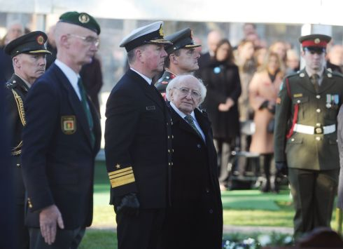 Michael D Higgins ahead of his reinauguration as President of Ireland, at Glasnevin Cemetery during the Armistice commemorations. Photograph: Aidan Crawley