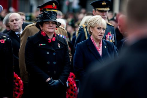 DUP leader Arlene Foster (left) and Heather Humphreys, Minister for Business, Enterprise and Innovation, at the Enniskillen Cenotaph on Remembrance Sunday in Enniskillen, Co Fermanagh. Photograph: Liam McBurney/PA Wire