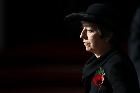 British prime minister Theresa May during the remembrance service at the Cenotaph memorial in Whitehall, central London, on the 100th anniversary of the signing of the Armistice. Photograph: Andrew Matthews/PA Wire