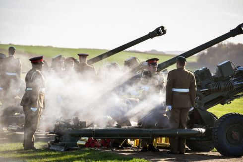 Eleventh hour, 11th day, 11th month: Soldiers of the Royal Artillery fire 100 rounds at Stonehenge, Wiltshire, before falling silent as the clock struck 11am on the 100th anniversary of the signing of the Armistice. Photograph: Ben Birchall/PA Wire