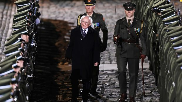 Michael D Higgins inspects the guard of honour following his inauguration ceremony at Dublin Castle. Photograph: Maxwells/PA Wire