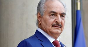 Khalifa Haftar, the military commander who dominates eastern Libya. Italian officials have been trying to secure his attendance at today's conference in  Sicily. Photograph: Philippe Wojazer/Reuters