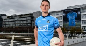 Dublin star Brian Fenton at the launch of Dublin GAA's new jersey at AIG's head office in Dublin in October. Photograph: Sam Barnes/Sportsfile