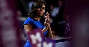 Michelle Obama addresses the Democratic National Convention in July 2016 in Philadelphia. Photograph: Jessica Kourkounis/Getty Images