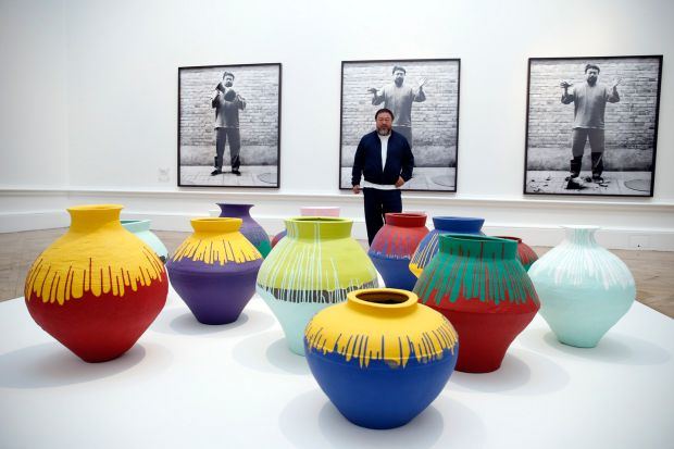 Considered: Sarah Thornton sets interviewees such as Koons and Hirst against the practices of Ai Weiwei (above, in 2015). Photograph: Alex B Huckle/Getty