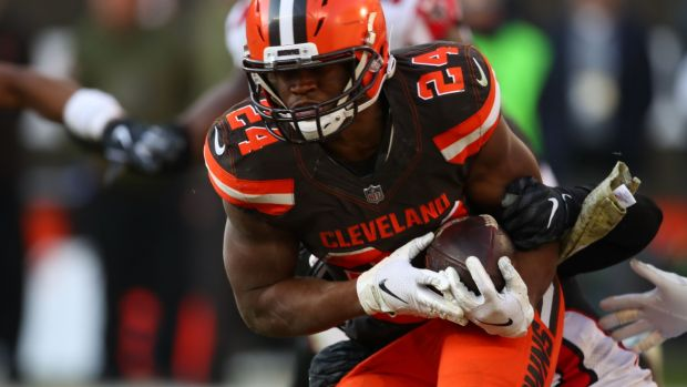 The Cleveland Browns' Nick Chubb runs the ball against the Atlanta Falcons. Photograph: Gregory Shamus/Getty