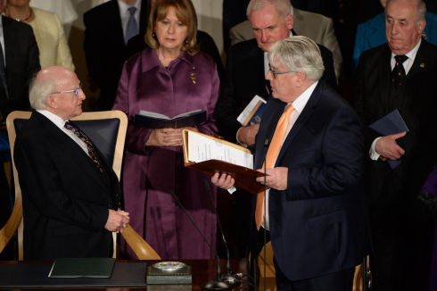 "The President warned about climate change and global inequality, but said ""the good news"" was that ""a rising generation"" of Irish people was interesting in tackling them. Photograph: Dara Mac Donaill"