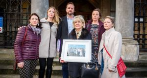 Members of Karl Collins's family  arriving at Sligo Coroners Court to attend the inquest into his death (from left to right) Roslyn, Maria, John, Irene (mother , holding family photograph), Jennifer and Aisling. Photograph: James Connolly