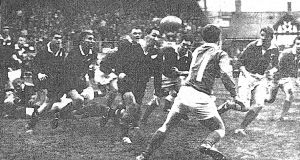 New Zealand on the attack during their  6-5 win over Ireland in 1963.