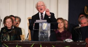 President Michael D Higgins speaking after the inauguration ceremony at Dublin Castle. Photograph: Irish Government Pool/Maxwells