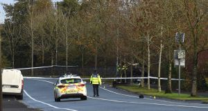 Garda forensic collision investigators at the scene of the fatal traffic crash  in Ballina, Co Mayo. Photograph: David Farrell