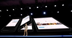 Samsung unveiled the Infinity Flex Display at its developer conference. Photograph: Stephen Lam/Reuters
