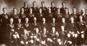 The New Zealand All Blacks, the first rugby team to undertake a tour outside of Australasia, who became known as 'the originals' when they toured Britain, France and the United States in 1905-06. Back row (left-right): Gillett, Casey, McGregor, McDonald, Roberts. Next row, standing: Harper, O'Sullivan, Seeling, Deans, Johnston, Nicholson, Corbett, Cunningham, Newton, Duncan (coach). Seated: Abbott, Wallace, Tyler, Gallagher (captain), Dixon (manager), Stead, Mackrell, Glasgow, Glenn. Seated on ground: Hunter, Mynott, Smith, Booth and Thomson. Photo: Popperfoto/Getty Images