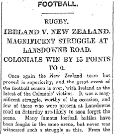 The match report in The Irish Times on Monday November 27th. Photo: Irish Times archive