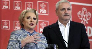 "Romanian prime minister Viorica Dancila  and Social Democracy Party (PSD) leader Liviu Dragnea. ""I assure you that Romania is ready"" for the presidency, said Ms Dancila. Photograph: Robert Ghement/EPA"
