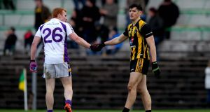 St Peters Dunboyne's Shane McEntee shakes hands with Mark Vaughan of Kilmacud Crokes after their Leinster Senior Club Football Championship quarter-final. Photo: Ryan Byrne/Inpho