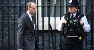UK Brexit secretary Dominic Raab leaves 10 Downing Street on Tuesday. Photograph: Chris J Ratcliffe/Bloomberg