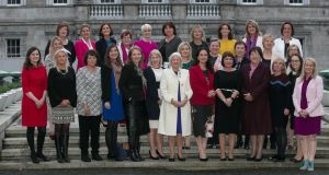 Past and present women TDs and ministers at Leinster House to mark the occasion of the first working meeting of the Irish Women's Parliamentary Caucus in November 2017. Photograph: Gareth Chaney Collins