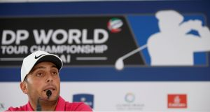 Francessco Molinari during a press conference ahead of the DP World Tour Championship in Dubai. Photograph: PA