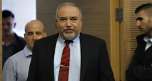 "Avigdor Lieberman, as he resigned as Israel's defence minister on Tuesday. ""Were I to stay in office, I would not be able to look southern residents in the eye,"" he said after rocket attacks from Gaza. Photograph: Menahem Kahana/AFP/Getty Images"