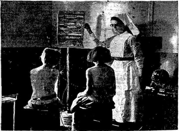 "A caption in The Irish Times on December 17th, 1938, reads: ""Children undergoing Ultra Violet Ray Treatment with the new apparatus at the Eye, Ear and Throat Hospital, Cork."""