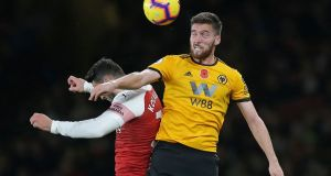 Wolverhampton Wanderers' Irish defender Matt Doherty picked up a facial injury during his team's draw with Arsenal. Photograph: Getty Images