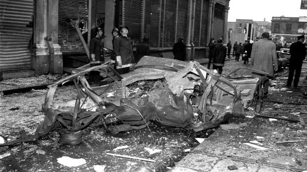 Scene from after the car bombing on Sackville Street. Photo: Tom Burke / Independent Newspapers Ireland / NLI Collection / Getty Images