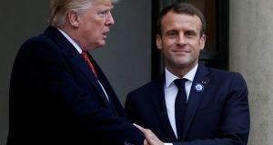 US president Donald Trump  and French president Emmanuel Macron in Paris last weekend. Trump would not be the first powerful man to see in an impudent junior a trace of his younger self. Photograph: Vincent Kessler/Reuters