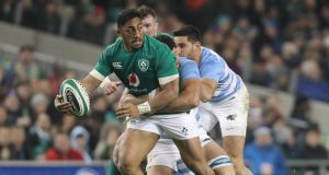 Ireland's Bundee Aki in action against Argentina's Javier Ortega Desio last Saturday. Photograph:  Niall Carson/PA Wire