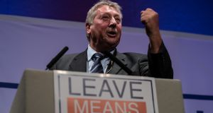 The bottom line from the unseen agreement, said Sammy Wilson, was that Northern Ireland was going to be treated differently than the rest of the United Kingdom. Above, speaking  at the 'Leave Means Rally'  in Bournemouth, England, last month. Photograph:  Matt Cardy/Getty Images