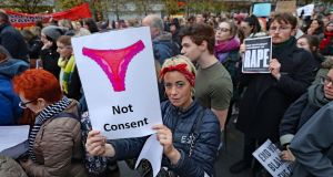 CONSENT: People gather for a protest in support of victims of sexual violence on O'Connell Street, Dublin on Wednesday, November 14th. Photograph: Niall Carson/PA Wire