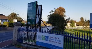 A 'for sale' sign outside the temporary home of North Wicklow Educate Together Secondary School in Bray, Co Wicklow. The school is due to vacate the property by May 1st next year.